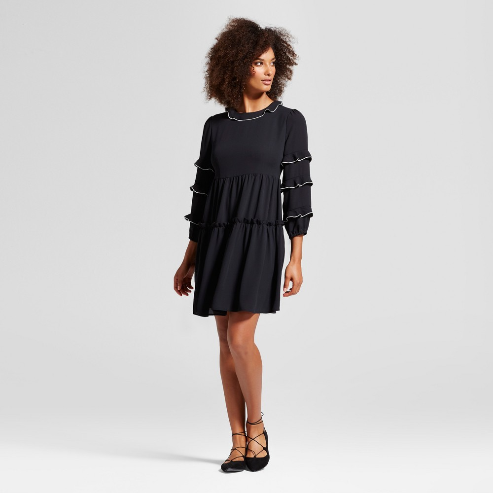 Womens Ruffle Dress With Contrast Trim - Who What Wear Black XS