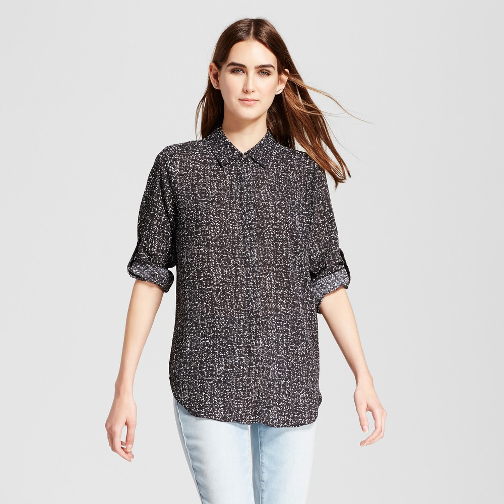 Womens Convertible Sleeve Top - Mossimo Black/White Print XL