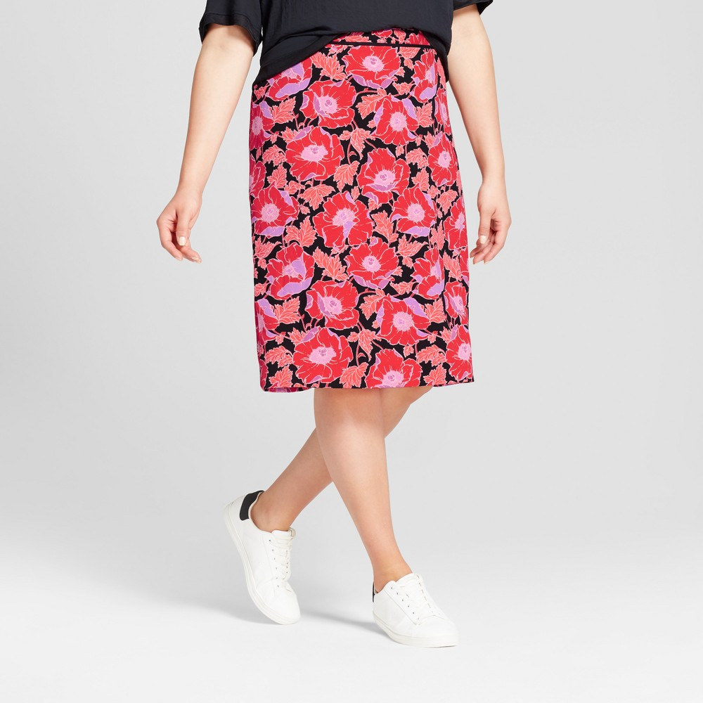 Womens Plus Size Pencil Skirt - Who What Wear Orange Floral 20W