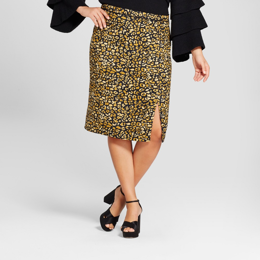 Womens Plus Size Print Mix Pencil Skirt - Who What Wear Yellow Cheetah 14W