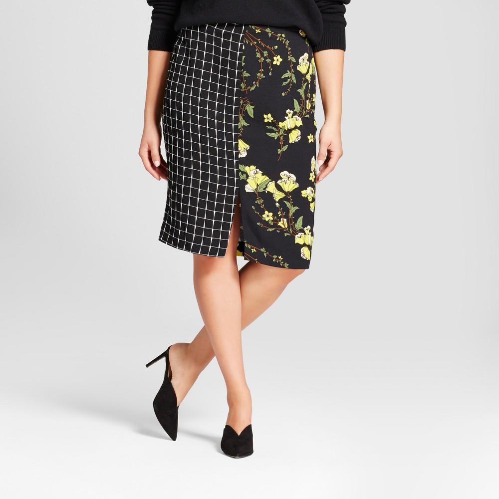 Womens Plus Size Print Mix Pencil Skirt - Who What Wear Black Print 24W