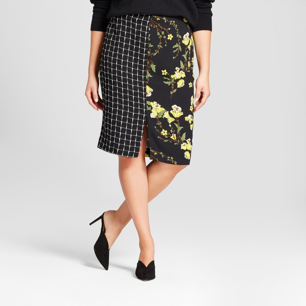 Womens Plus Size Print Mix Pencil Skirt - Who What Wear Black Print 14W