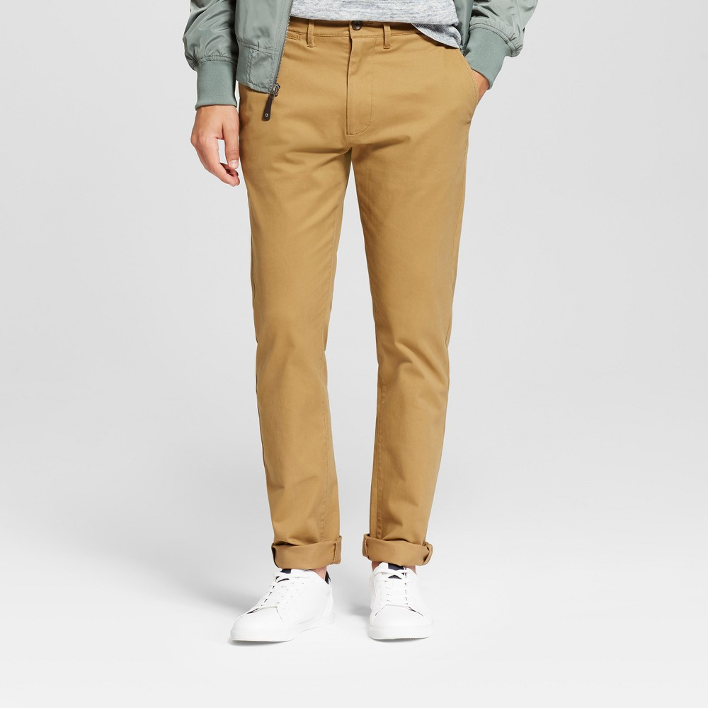 Mens Slim Fit Hennepin Chino Pants - Goodfellow & Co Light Brown 34X30