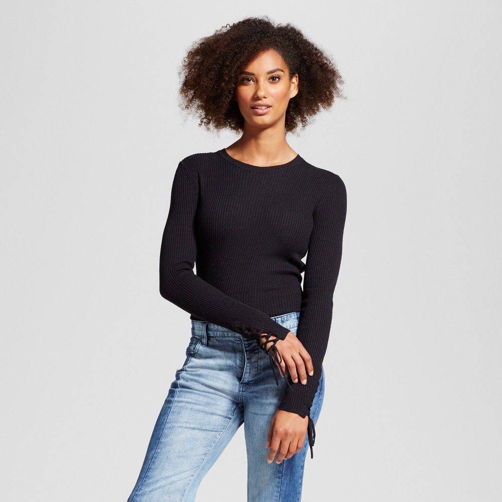 Womens Lace Up Sleeve Sweater - Who What Wear Black XL