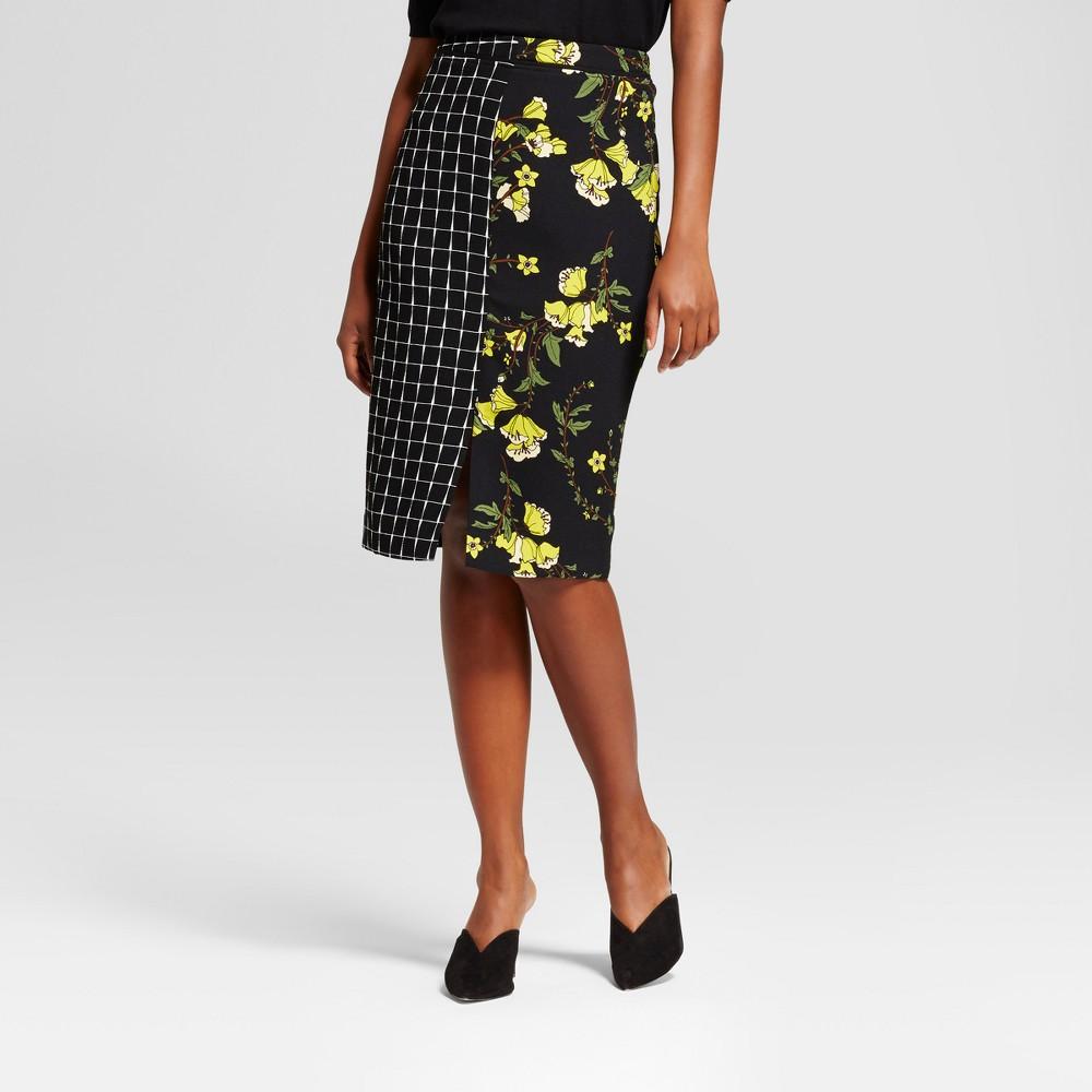 Womens Print Mix Pencil Skirt - Who What Wear Black Print 14
