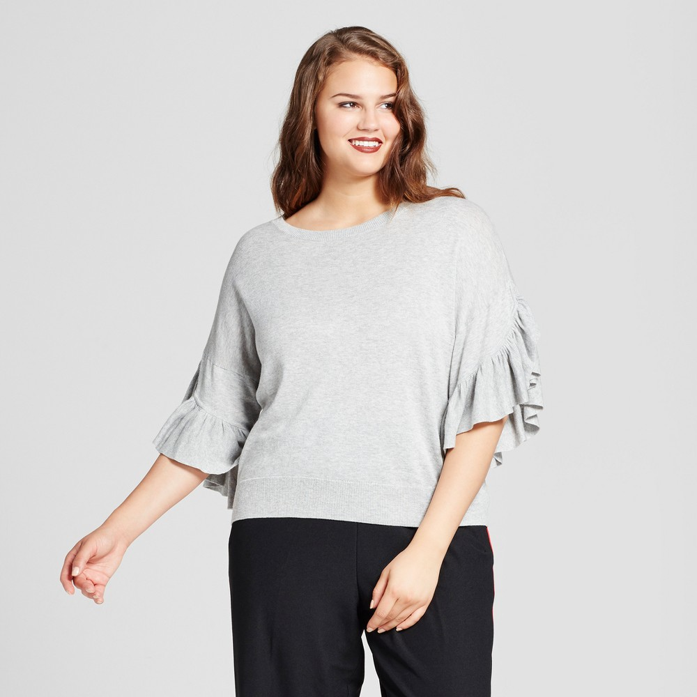 Womens Plus Size Frill Sleeve Sweater - Who What Wear Gray 3X