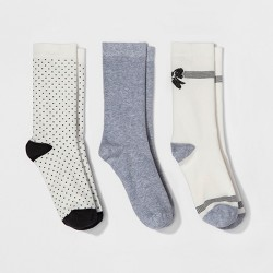 Women's 3pk Crew Socks - A New Day™ Sour Cream Bows One Size