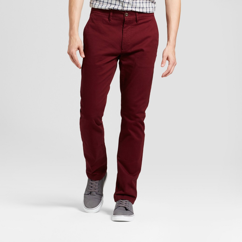 Mens Slim Fit Hennepin Chino Pants - Goodfellow & Co Burgundy (Red) 34X32