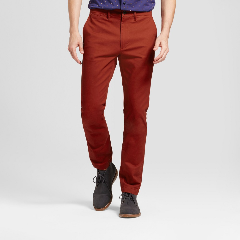 Mens Slim Fit Hennepin Chino Pants - Goodfellow & Co Rust (Red) 42x34