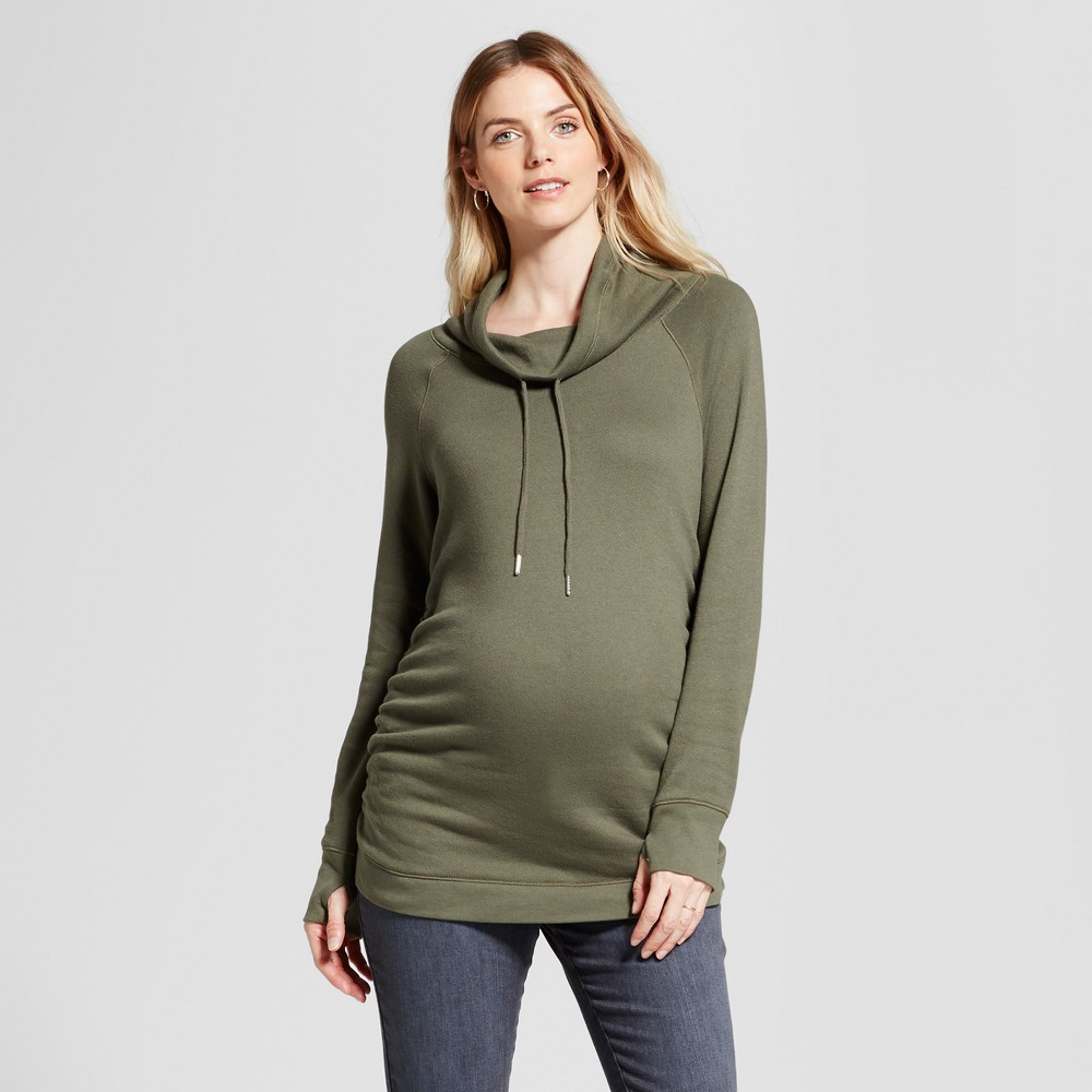 Maternity Cowl Neck Sweatshirt - Isabel Maternity by Ingrid & Isabel Olive (Green) L, Womens
