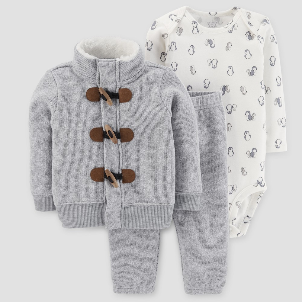 Baby Boys 3pc Cardigan Set - Just One You Made by Carters Light Gray 9M