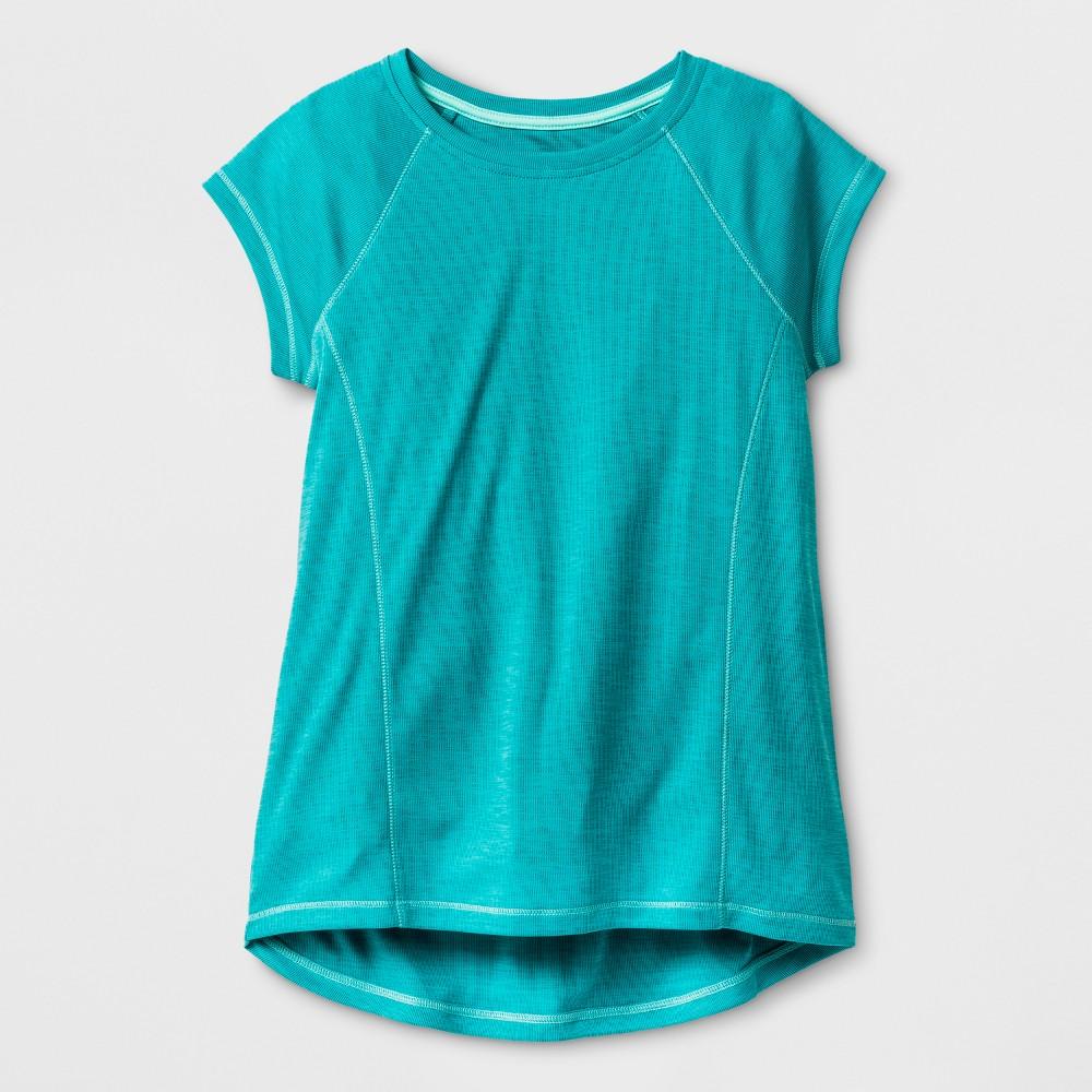 Girls Novelty Tech T-Shirt - C9 Champion Upbeat Teal (Blue) Heather L