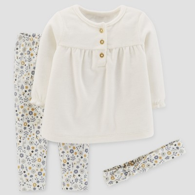 Baby Girls' 3pc Top and Leggings Set - Just One You™ Made by Carter's® Cream NB