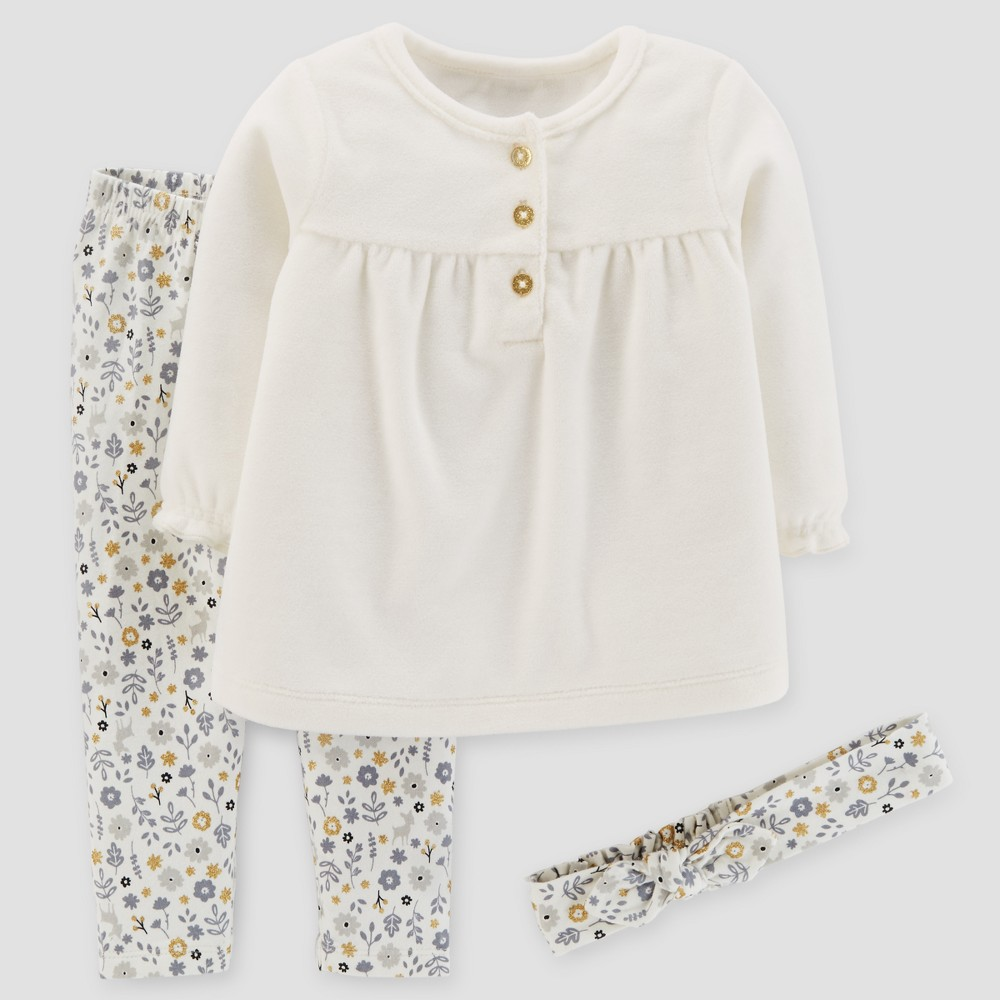 Baby Girls 3pc Top and Leggings Set - Just One You Made by Carters Cream 9M, White