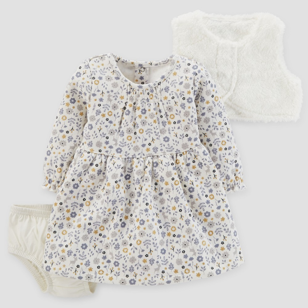 Baby Girls 3pc Dress and Sherpa Vest Set - Just One You Made by Carters Cream NB, White