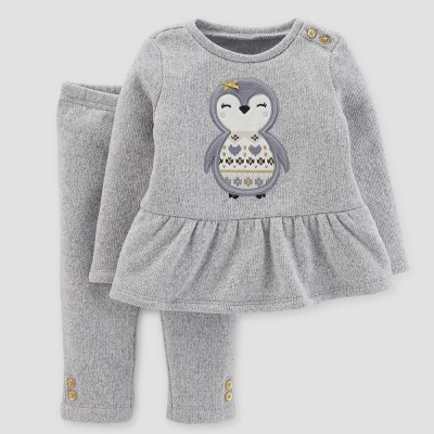 Baby Girls' 2pc Penguin Peplum and Pants Set - Just One You™ Made by Carter's® Light Gray 18M