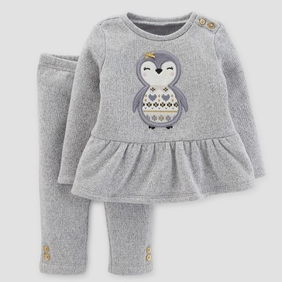 Baby Girls' 2pc Penguin Peplum and Pants Set - Just One You™ Made by Carter's® Light Gray NB