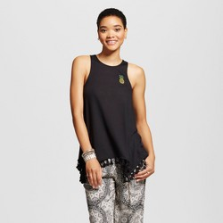 Women's Embroidered Pineapple Graphic Tunic Black - Fifth Sun (Juniors')