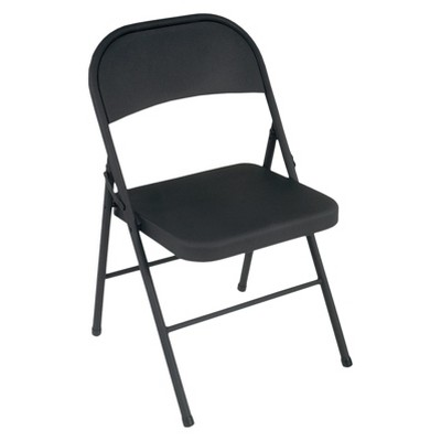 All Steel Folding Chair - Black (Set of 4)- Cosco