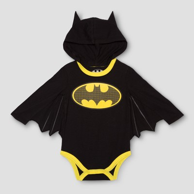 DC Comics Baby Boys' Long Sleeve Batman Bodysuit with Wings - Black NB