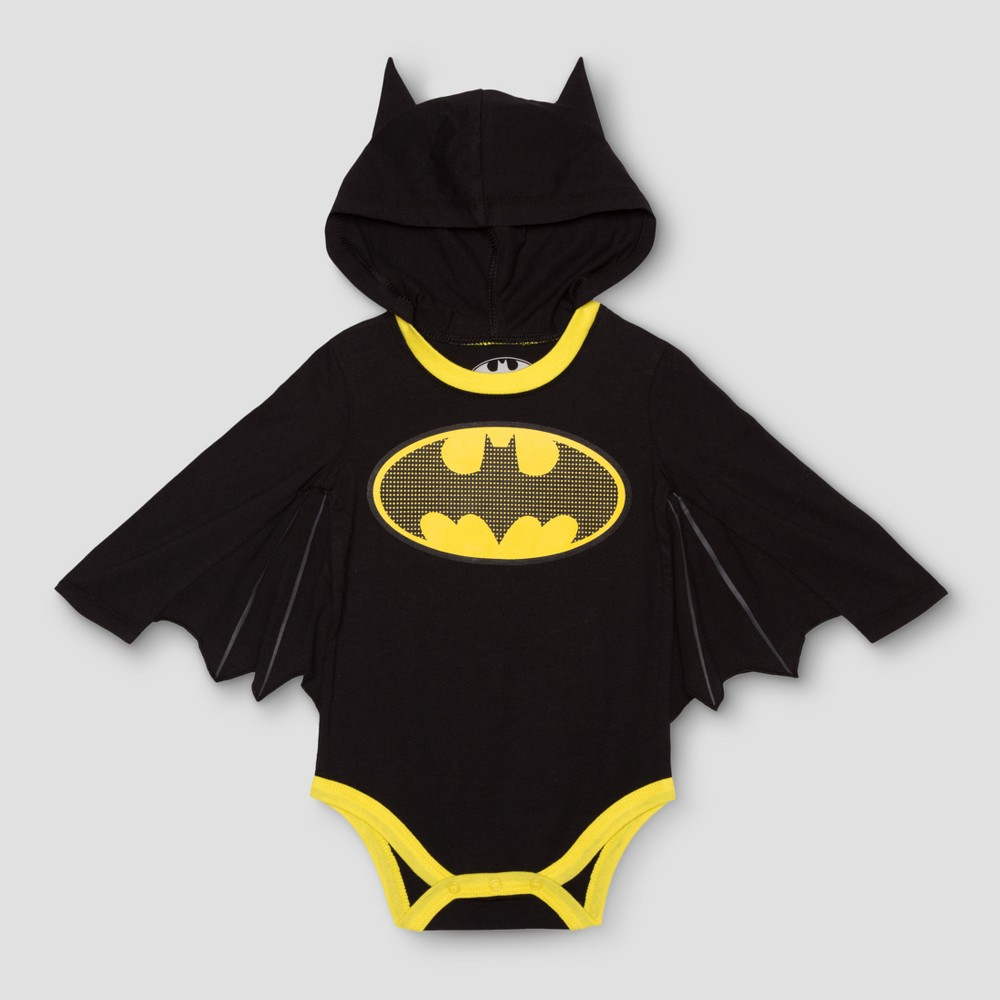 Baby Boys Long Sleeve Batman Bodysuit Black - DC Comics 3-6 M