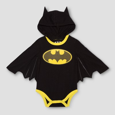 DC Comics Baby Boys' Long Sleeve Batman Bodysuit with Wings - Black 6-9M