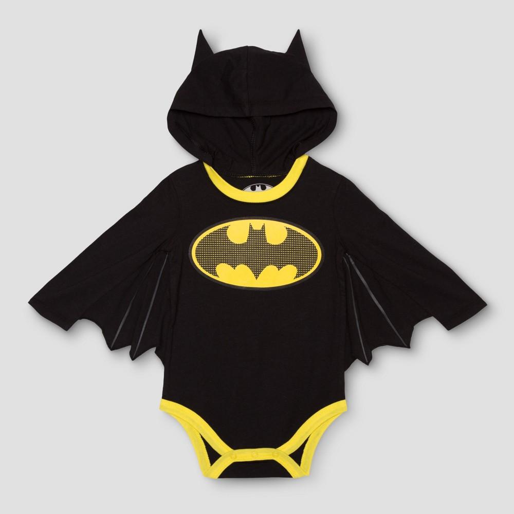 Baby Boys Long Sleeve Batman Bodysuit Black - DC Comics 6-9 M