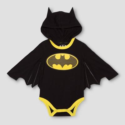 DC Comics Baby Boys' Long Sleeve Batman Bodysuit with Wings - Black 12M