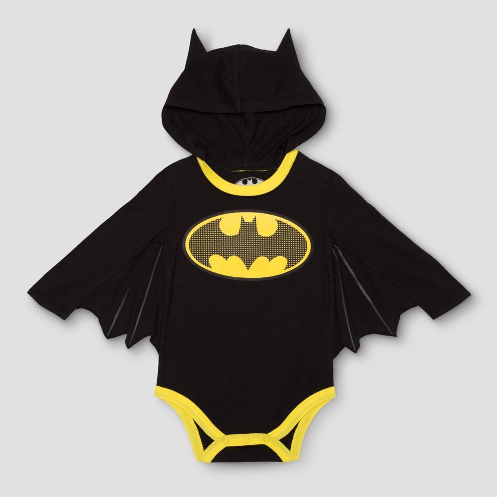 Baby Boys Long Sleeve Batman Bodysuit Black - DC Comics 12 M