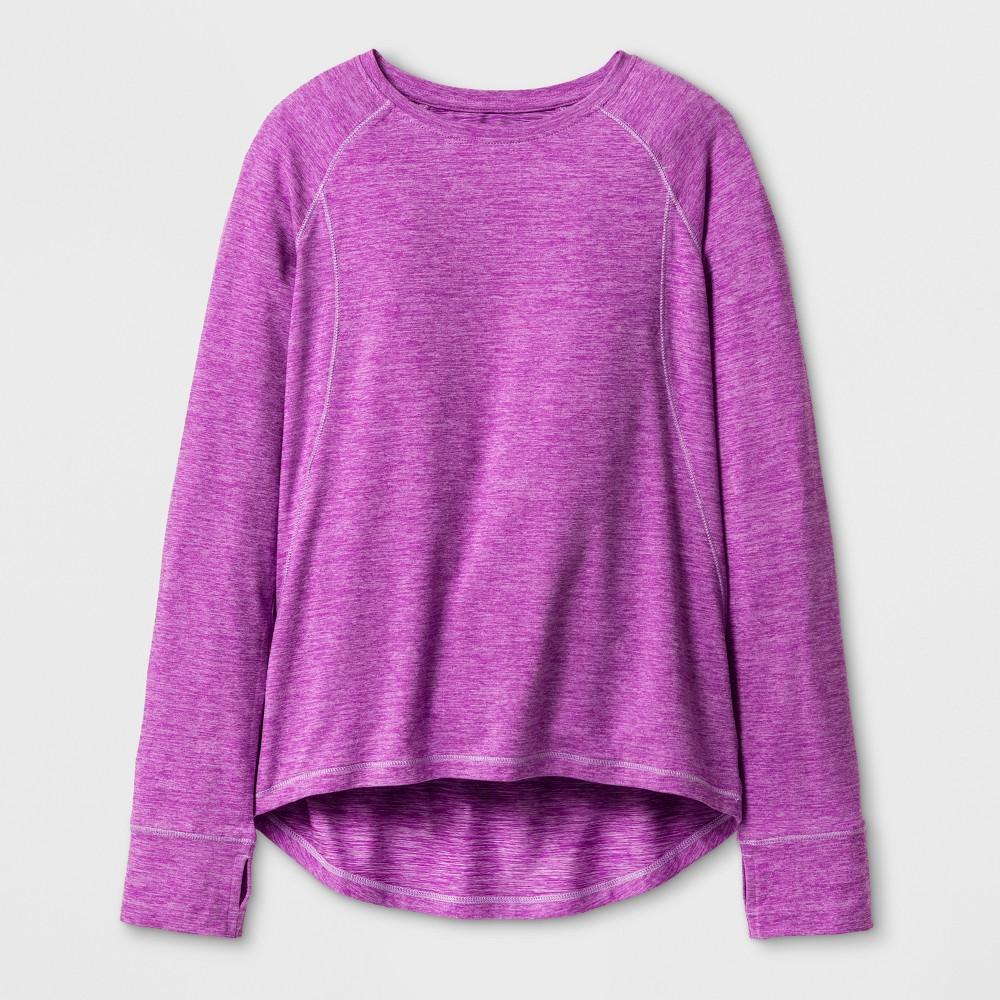 Girls' Soft Long Sleeve Tech T-Shirt - C9 Champion Aurora Purple Heather S