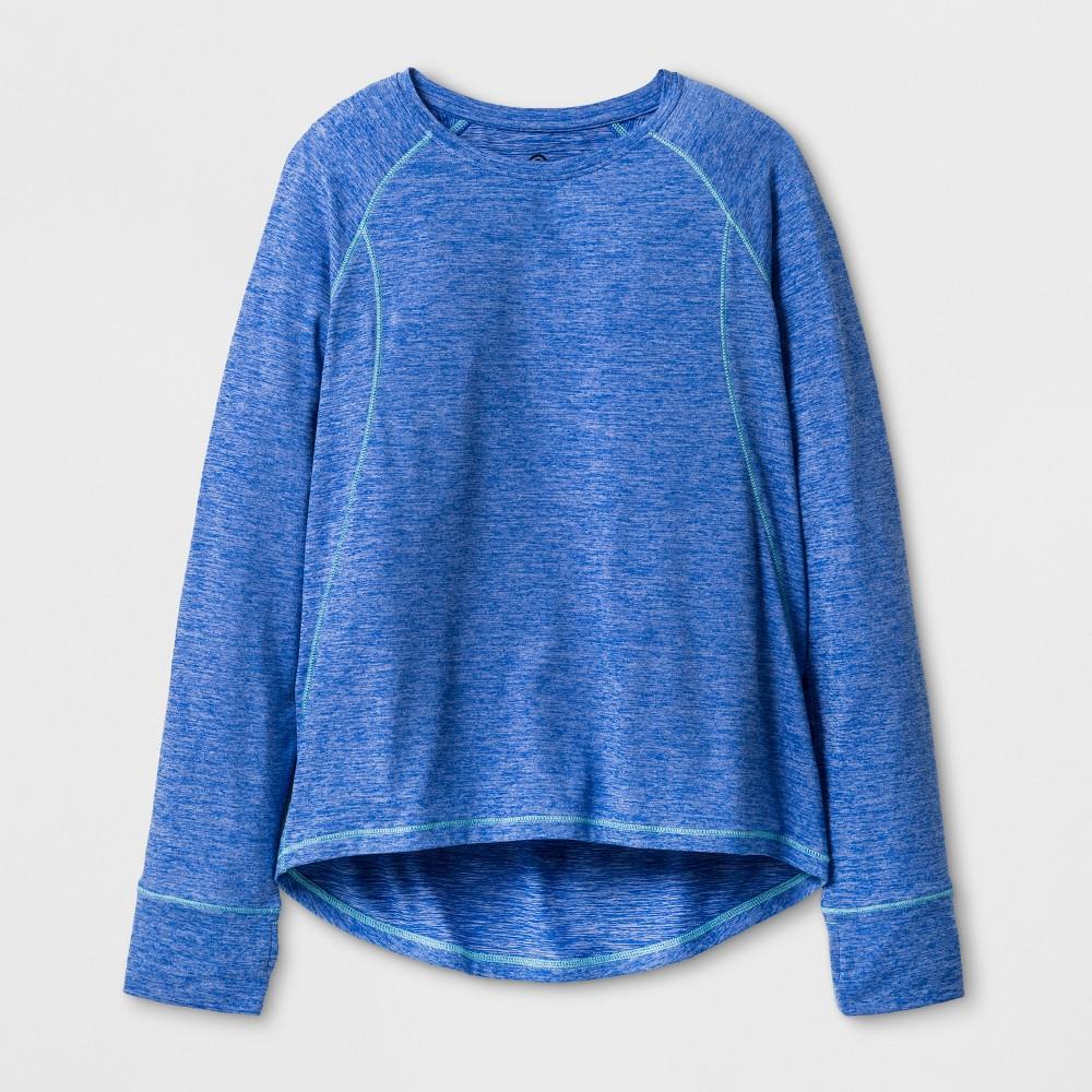 Girls' Soft Long Sleeve Tech T-Shirt - C9 Champion Steel Blue Heather XS, Heather Blue