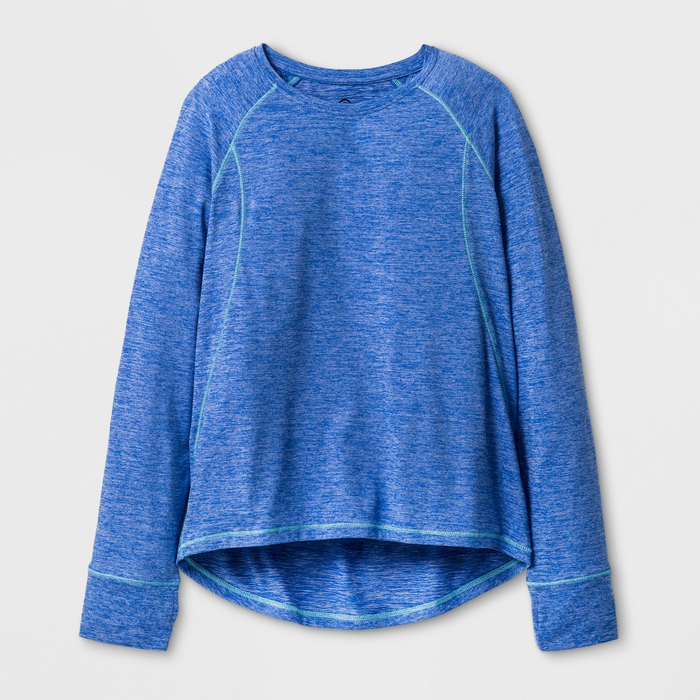 Girls Soft Long Sleeve Tech T-Shirt - C9 Champion Steel Blue Heather L, Heather Blue