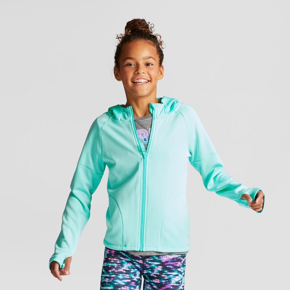 Girls Striped Elevated Tech Fleece Full Zip - C9 Champion - Light Sea Green L