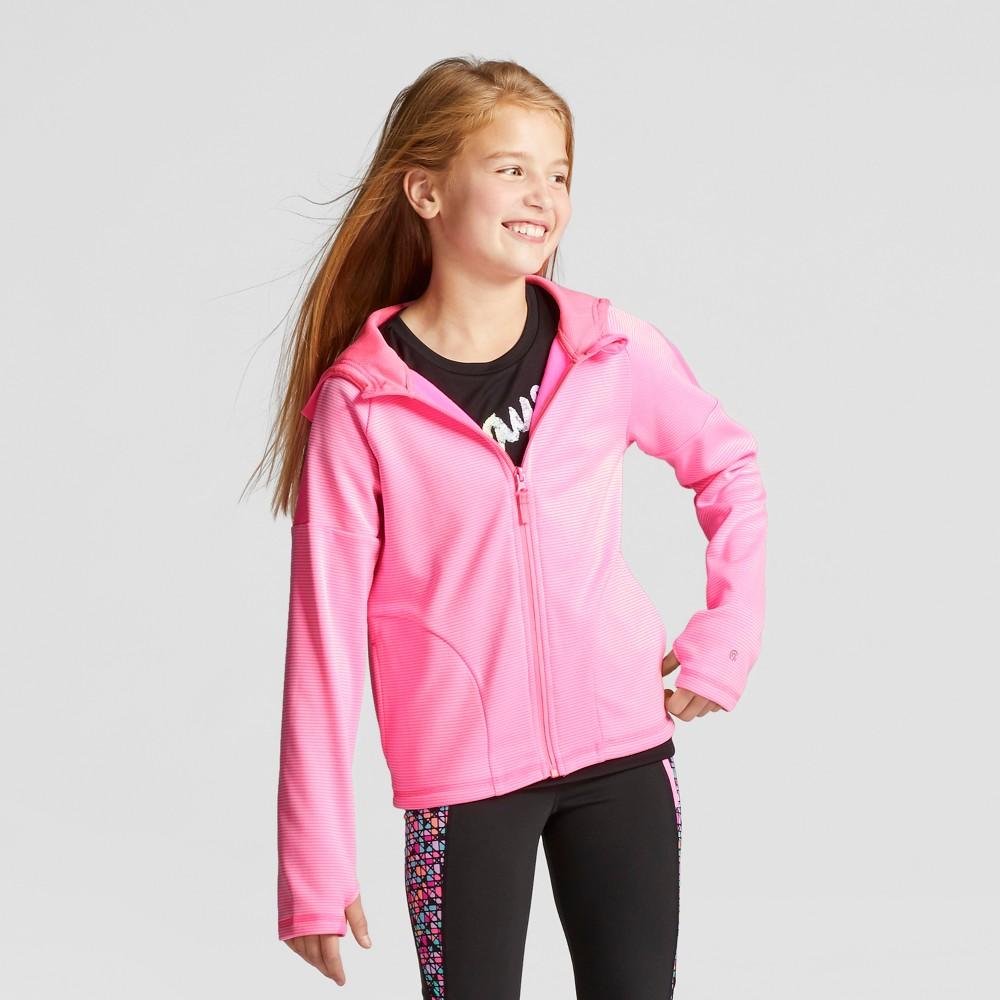Girls Striped Elevated Tech Fleece Full Zip - C9 Champion - Gabby Pink XL