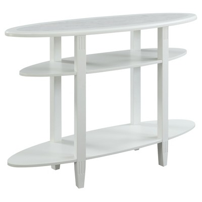 Seville Oval Console Table   White   Faux Marble   Convenience Concepts