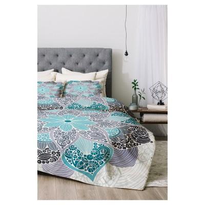 Blue Valentina Ramos Petunia Mandala Comforter Set   Deny Designs®