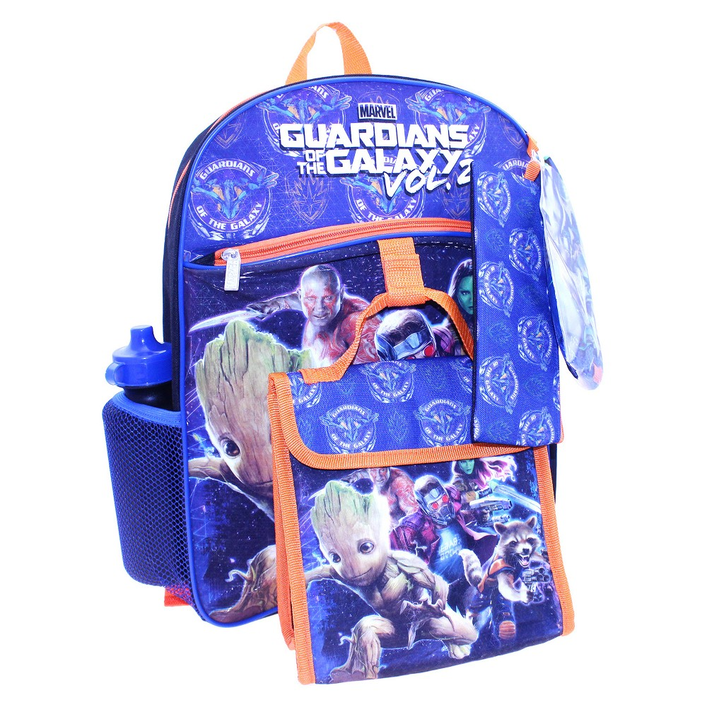 Guardians of the Galaxy 16 Kids Backpack - 5pc Set, Multi-Colored