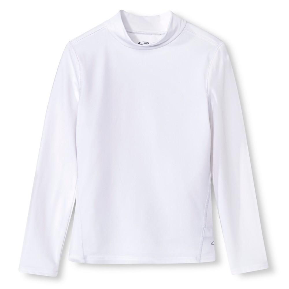 Girls Power Core Brushed Compression Long Sleeve Mock - C9 Champion - White S