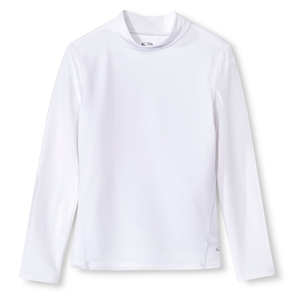 Girls Power Core Brushed Compression Long Sleeve Mock - C9 Champion - White L