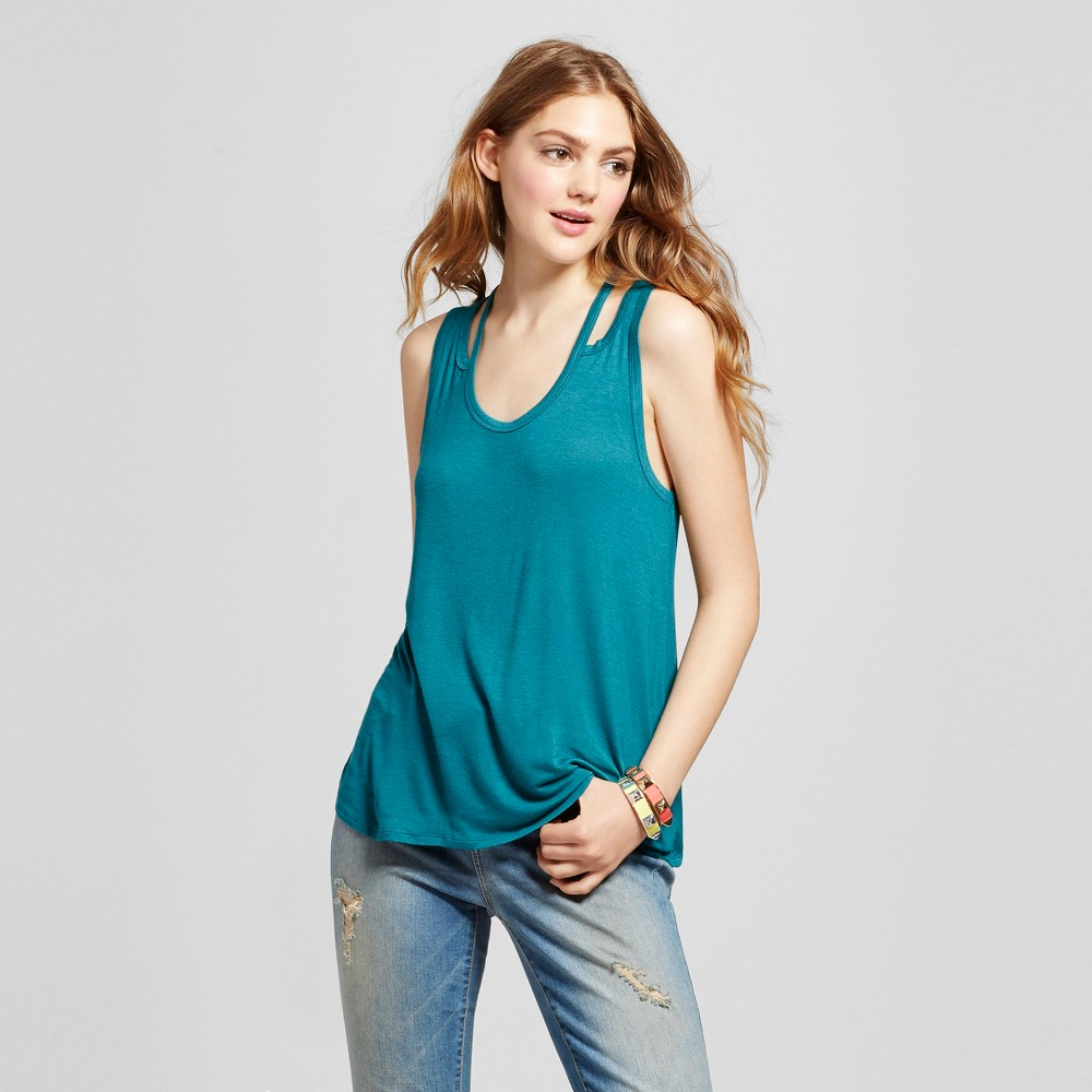 Women's Knot Front Tank - Mossimo Supply Co. Teal (Blue) S