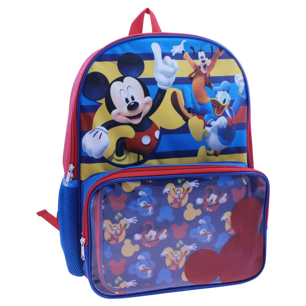Mickey Mouse 16 Kids Backpack with Lunch Kit, Multi-Colored