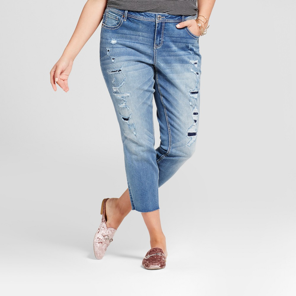 Womens Plus Size Destructed Skinny Jean Blue 18W - Almost Famous (Juniors)