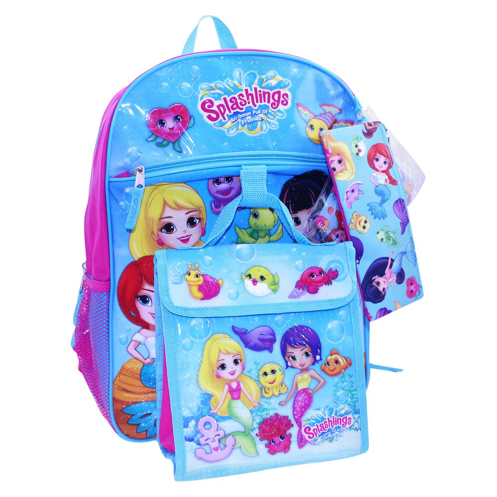 Splashlings 16 Kids Backpack - 5pc Set, Multi-Colored