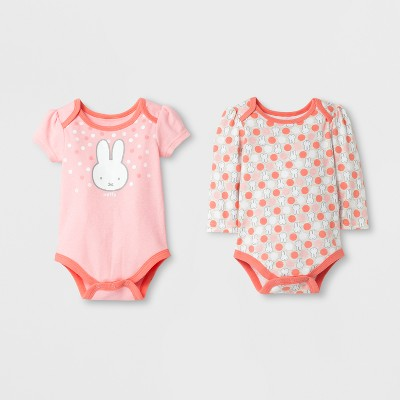 Baby Girls' Miffy® 2pk Bodysuit Set - Peach 3-6M