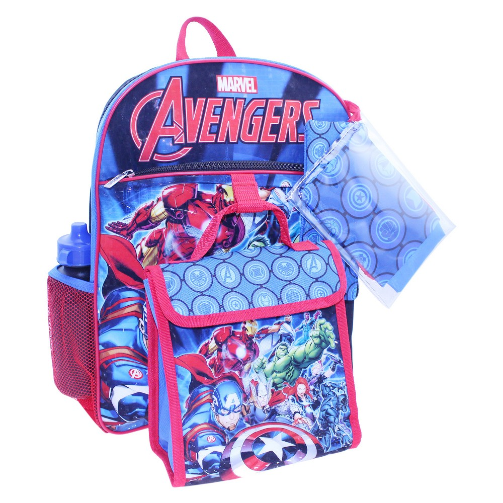 Avengers 16 Kids Backpack - 5pc Set, Multi-Colored