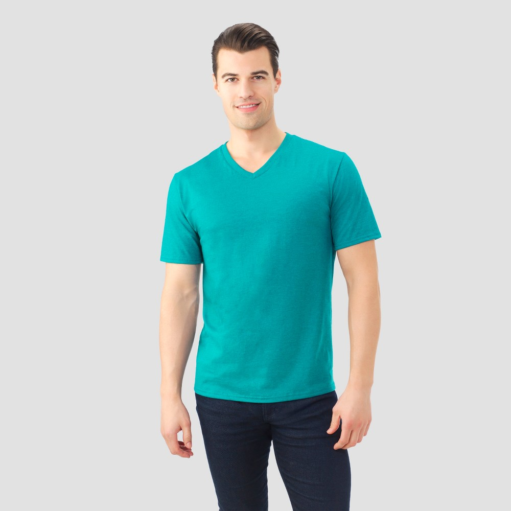 Fruit of The Loom Mens V-Neck T-Shirt - Deep Teal XL, Green