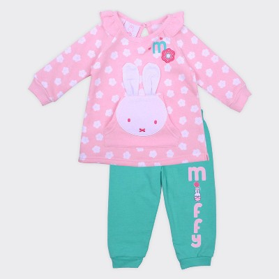 Baby Girls' Miffy® 2pc Front Pocket Pullover and Jogger Set - Pink 3-6M