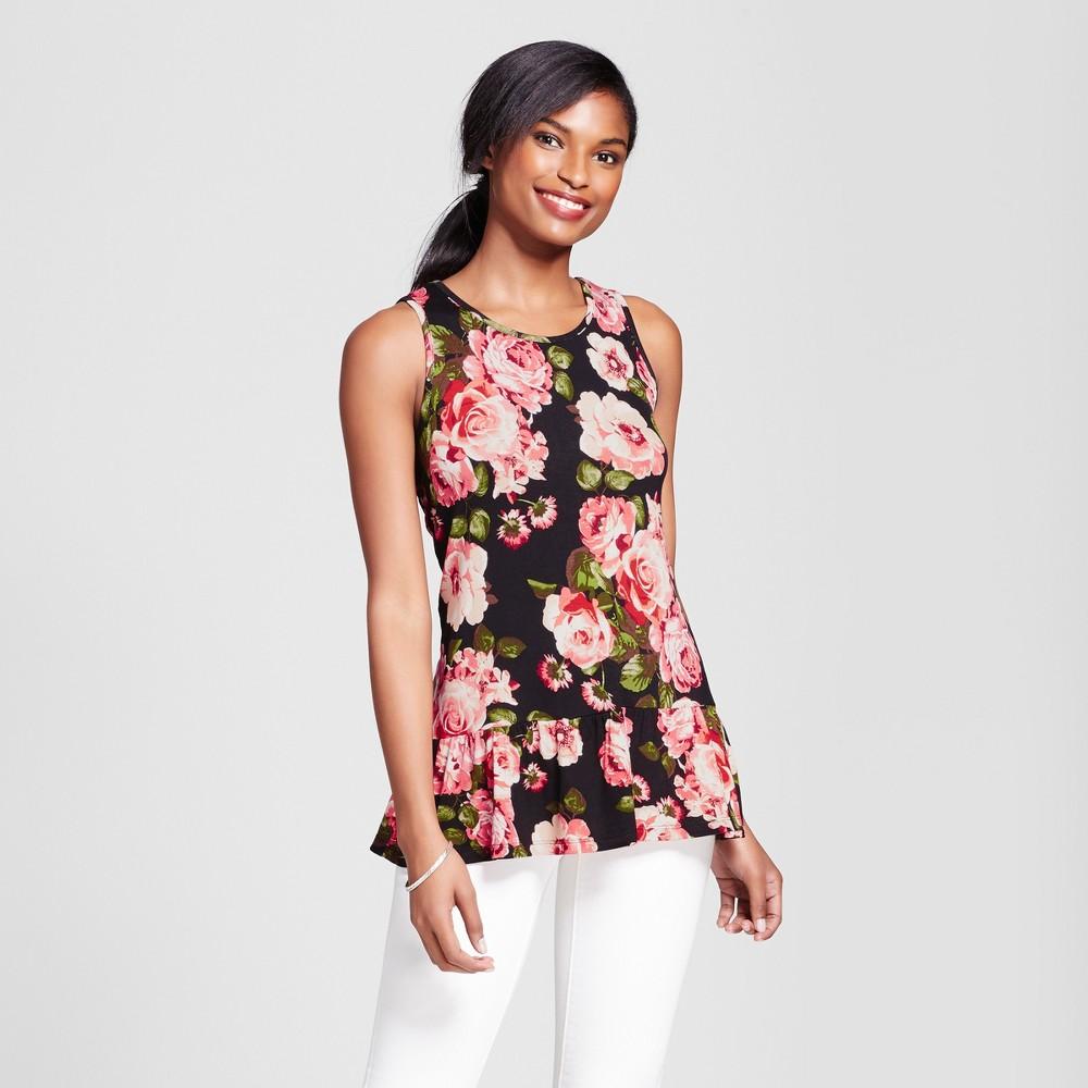 Womens Floral Tank Top - Como Black - Black/Pink S