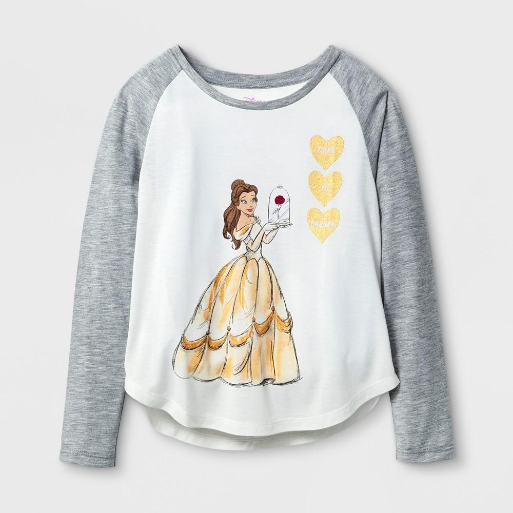 Plus Size Girls Disney Princess Belle Long Sleeve Raglan T-Shirt - White L Plus