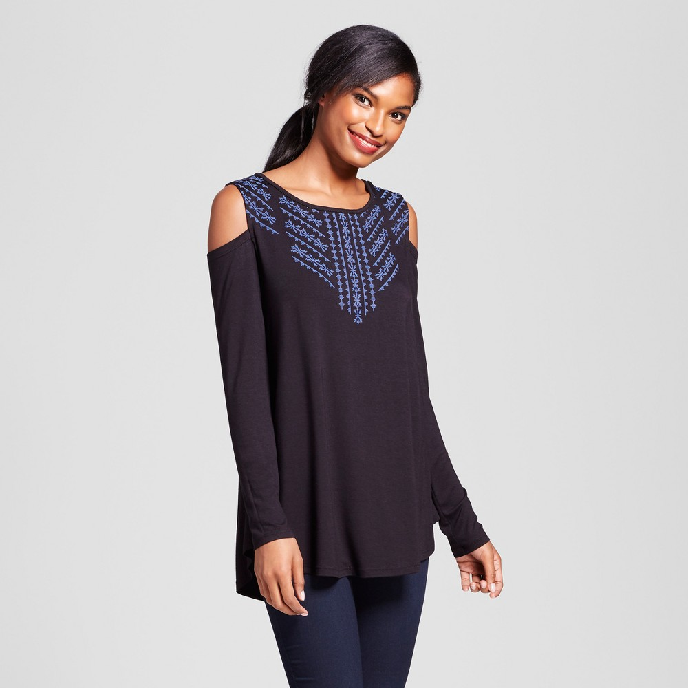 Womens Embroidered Cold Shoulder Top - Como Black - Black XL